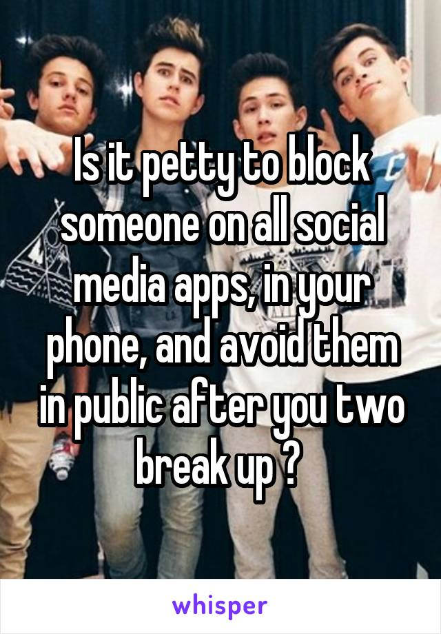Is it petty to block someone on all social media apps, in your phone, and avoid them in public after you two break up ?