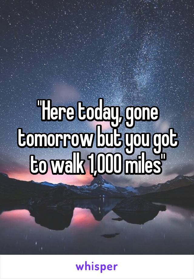 """Here today, gone tomorrow but you got to walk 1,000 miles"""