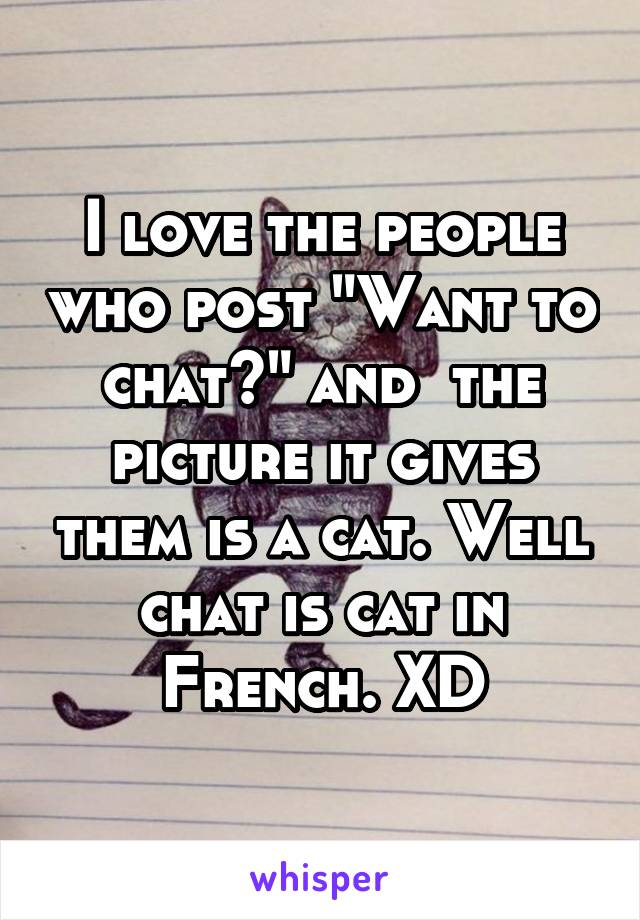 """I love the people who post """"Want to chat?"""" and  the picture it gives them is a cat. Well chat is cat in French. XD"""