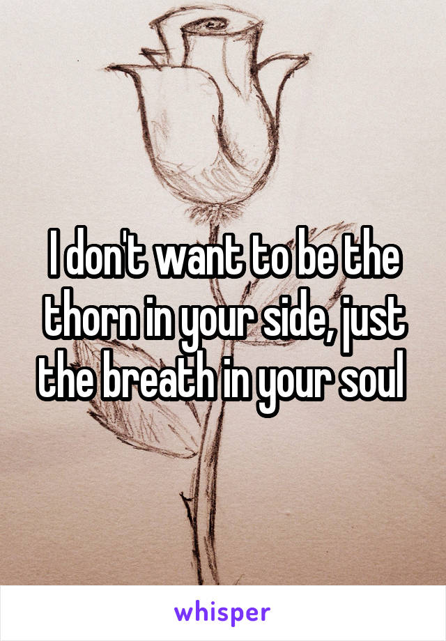 I don't want to be the thorn in your side, just the breath in your soul