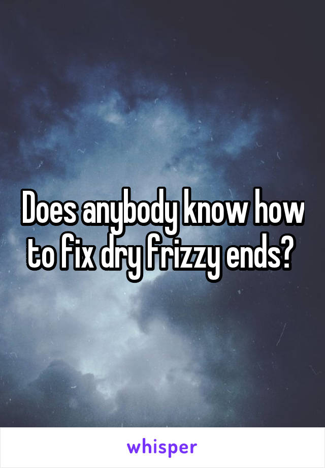 Does anybody know how to fix dry frizzy ends?