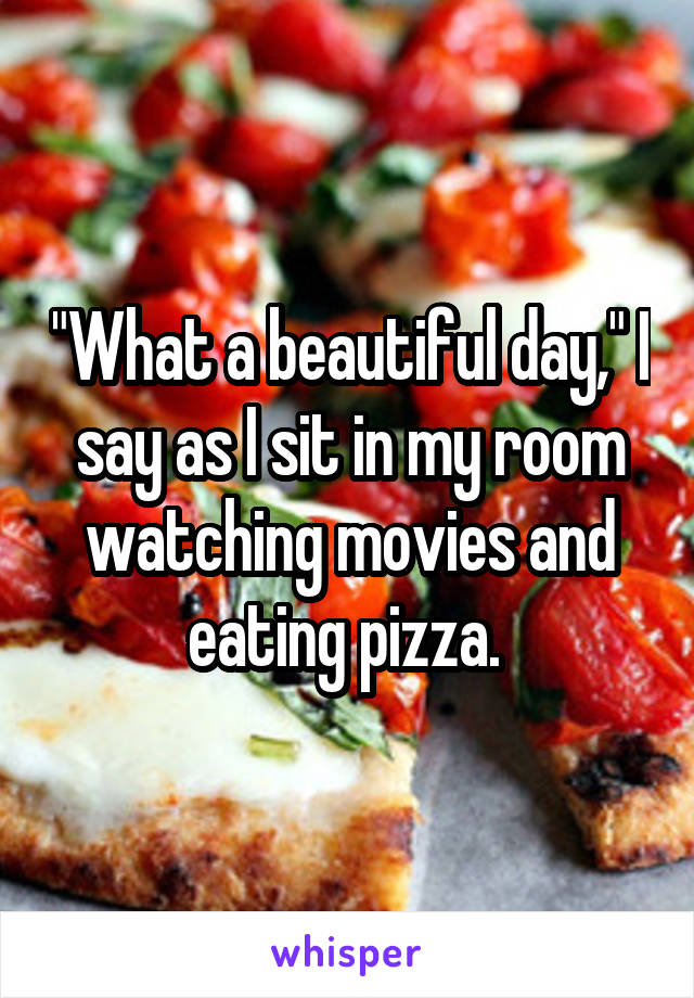 """What a beautiful day,"" I say as I sit in my room watching movies and eating pizza."