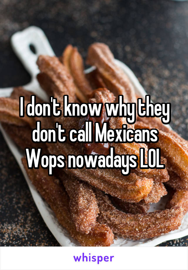 I don't know why they don't call Mexicans Wops nowadays LOL