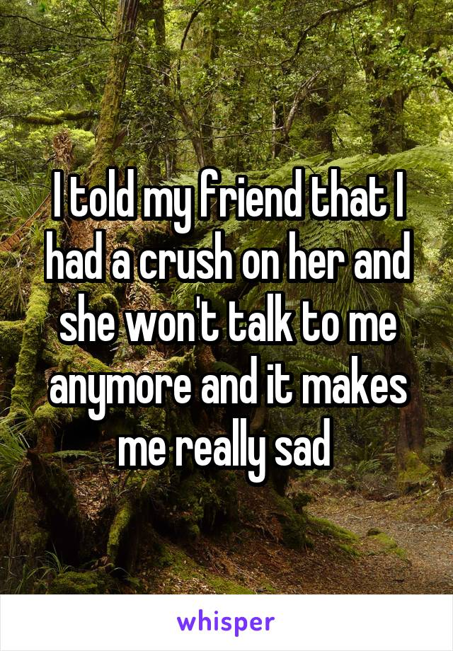 I told my friend that I had a crush on her and she won't talk to me anymore and it makes me really sad