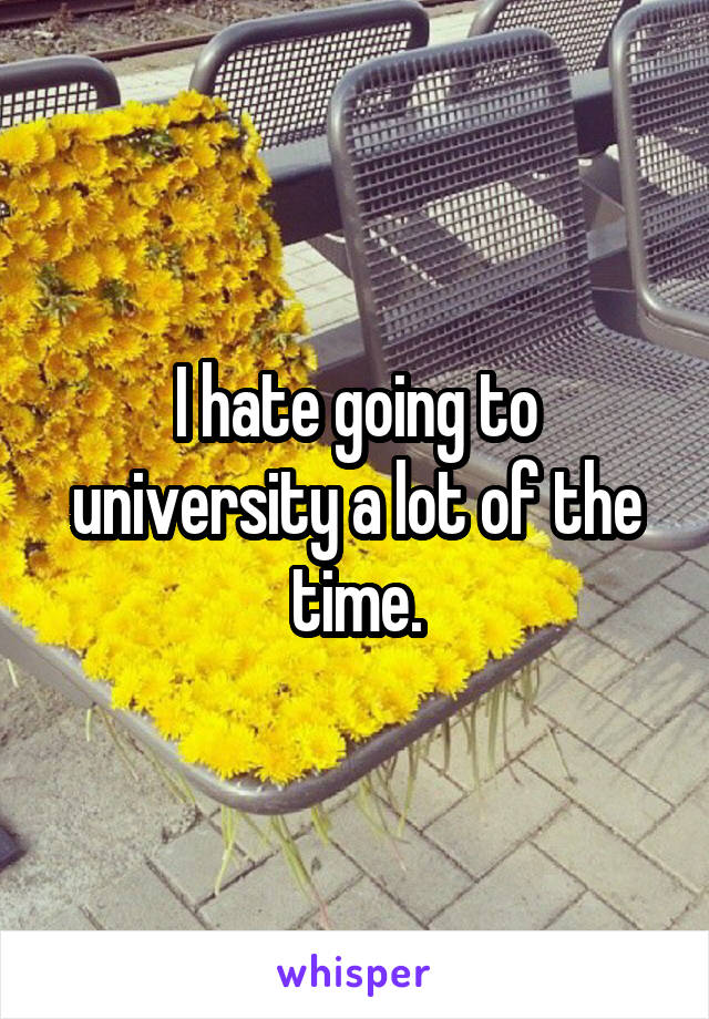 I hate going to university a lot of the time.