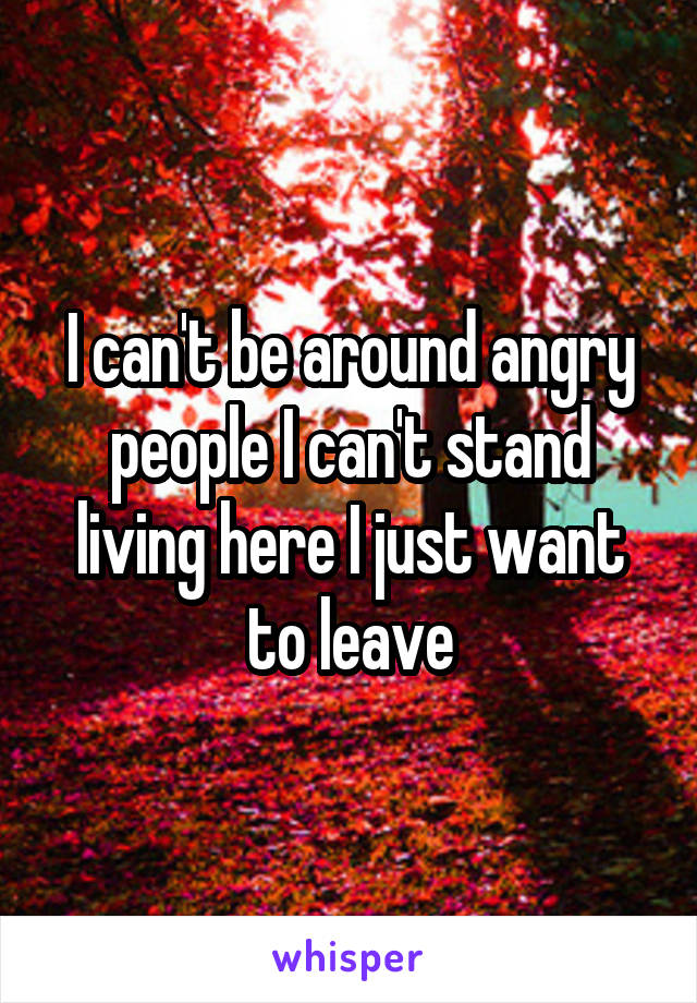 I can't be around angry people I can't stand living here I just want to leave