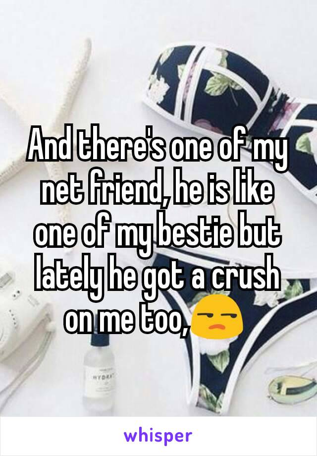 And there's one of my net friend, he is like one of my bestie but lately he got a crush on me too,😒