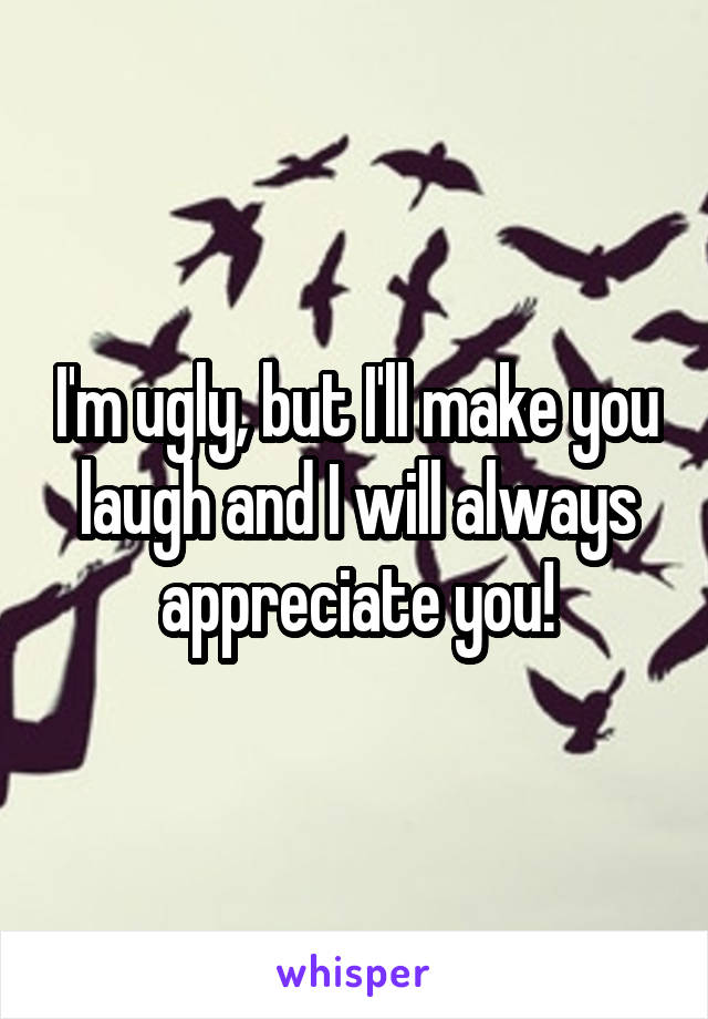 I'm ugly, but I'll make you laugh and I will always appreciate you!