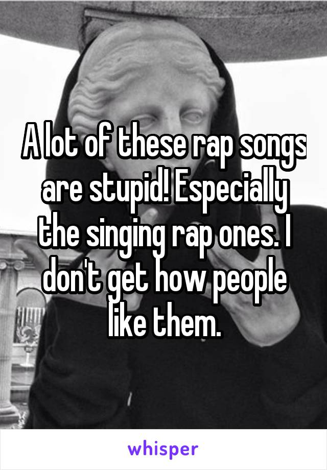 A lot of these rap songs are stupid! Especially the singing rap ones. I don't get how people like them.