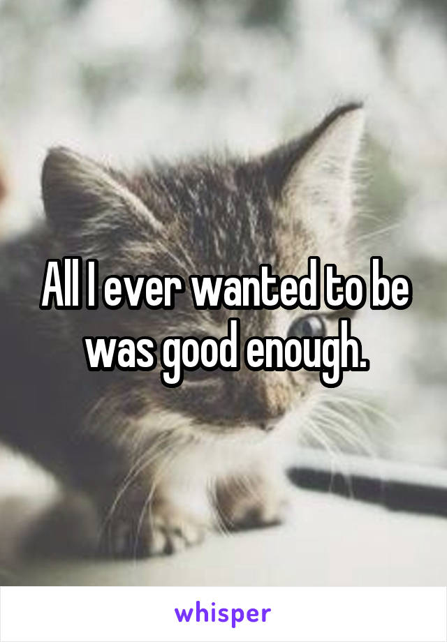 All I ever wanted to be was good enough.