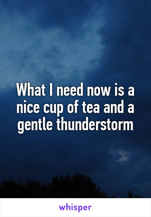 What I need now is a nice cup of tea and a gentle thunderstorm