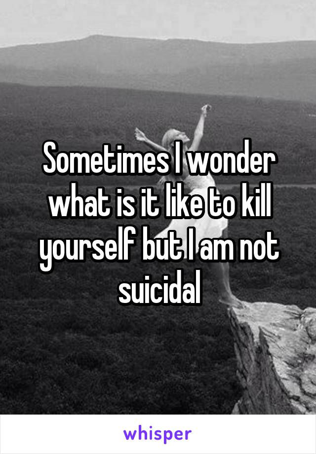 Sometimes I wonder what is it like to kill yourself but I am not suicidal