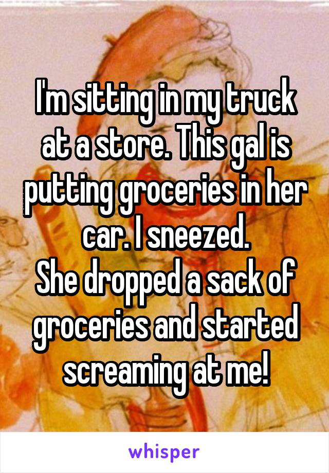 I'm sitting in my truck at a store. This gal is putting groceries in her car. I sneezed. She dropped a sack of groceries and started screaming at me!