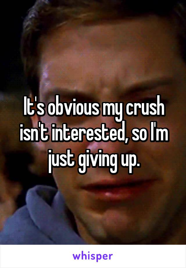 It's obvious my crush isn't interested, so I'm just giving up.