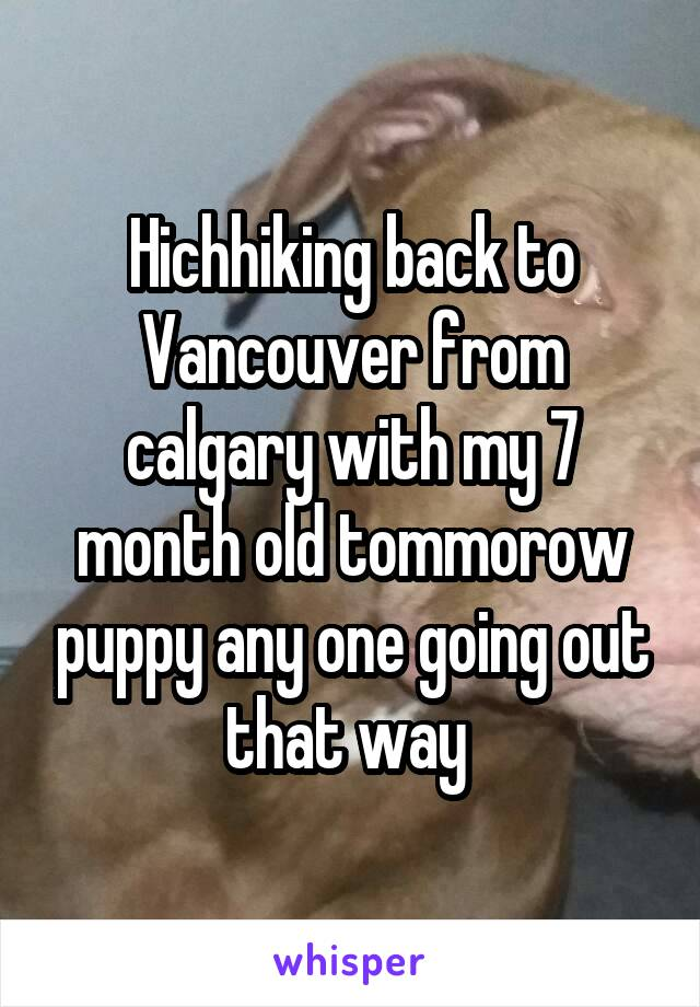 Hichhiking back to Vancouver from calgary with my 7 month old tommorow puppy any one going out that way