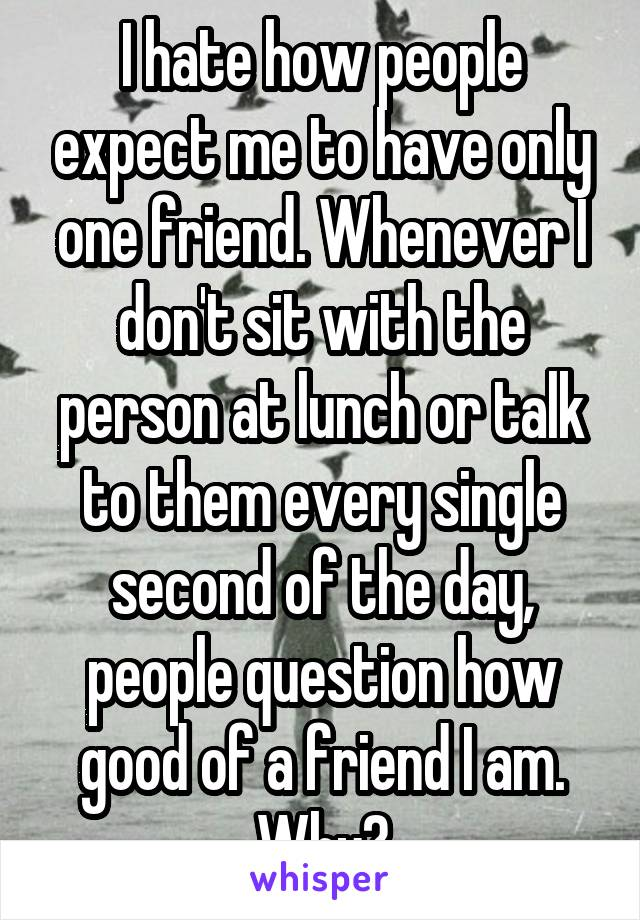 I hate how people expect me to have only one friend. Whenever I don't sit with the person at lunch or talk to them every single second of the day, people question how good of a friend I am. Why?