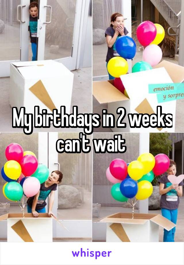 My birthdays in 2 weeks can't wait