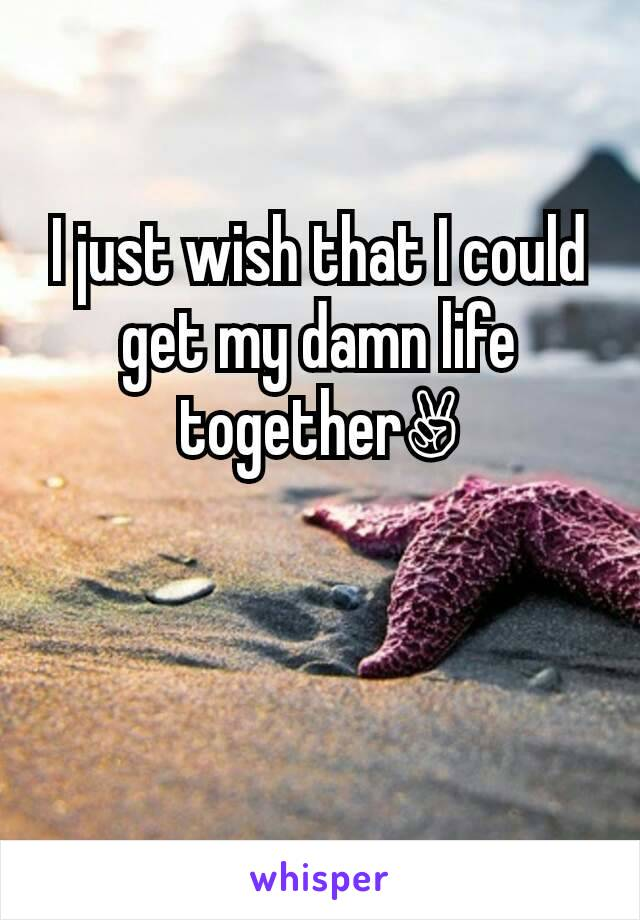 I just wish that I could get my damn life together✌