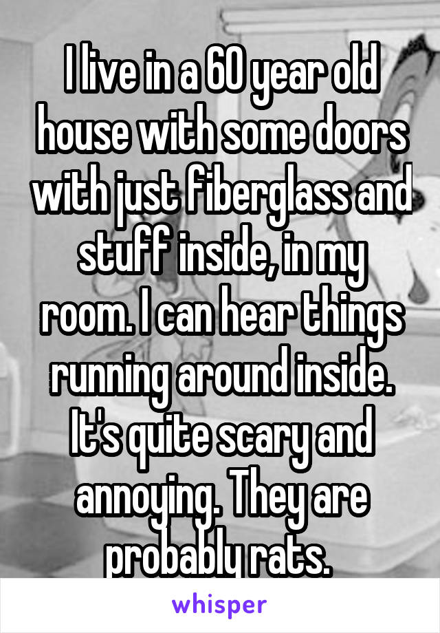I live in a 60 year old house with some doors with just fiberglass and stuff inside, in my room. I can hear things running around inside. It's quite scary and annoying. They are probably rats.
