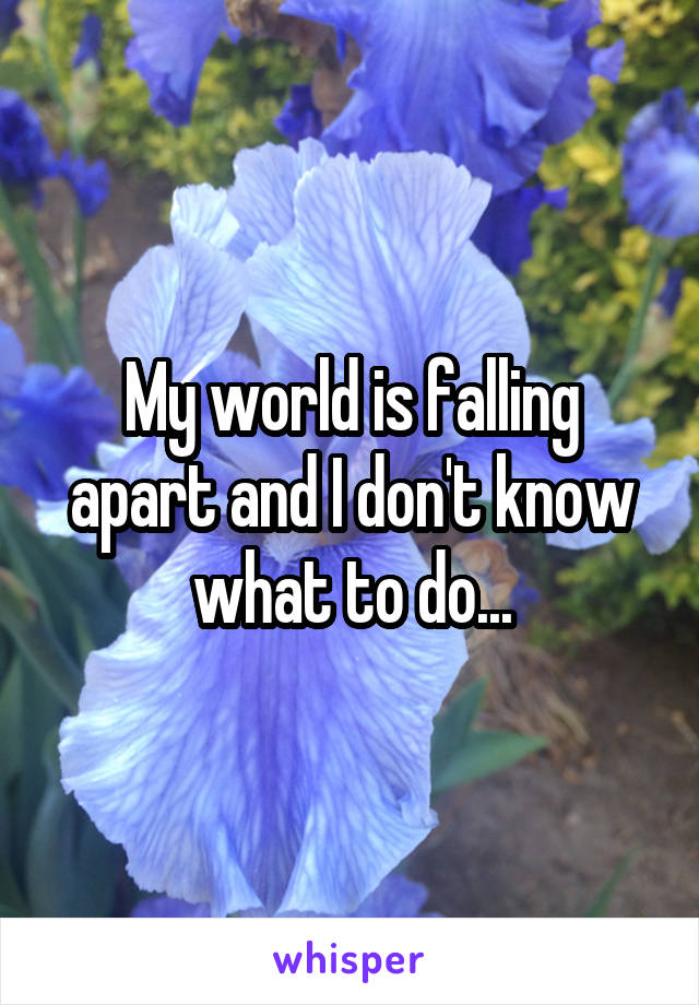 My world is falling apart and I don't know what to do...