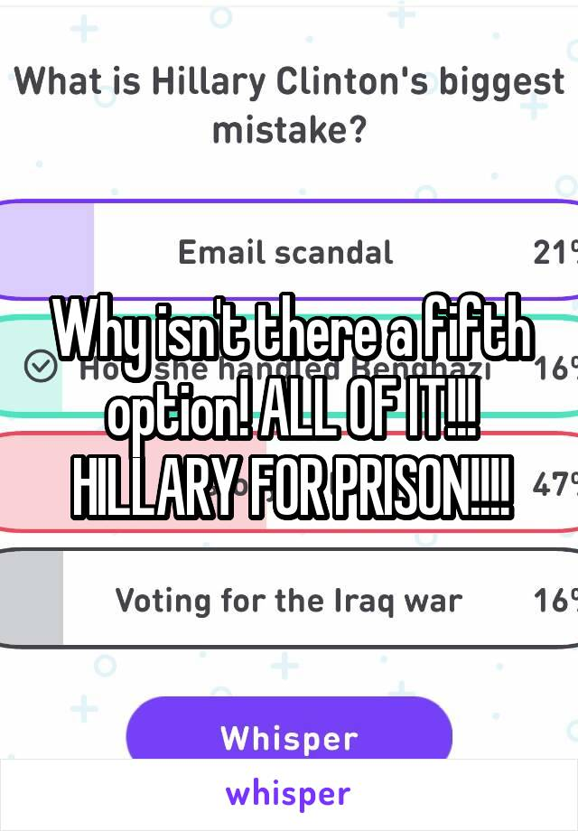 Why isn't there a fifth option! ALL OF IT!!! HILLARY FOR PRISON!!!!