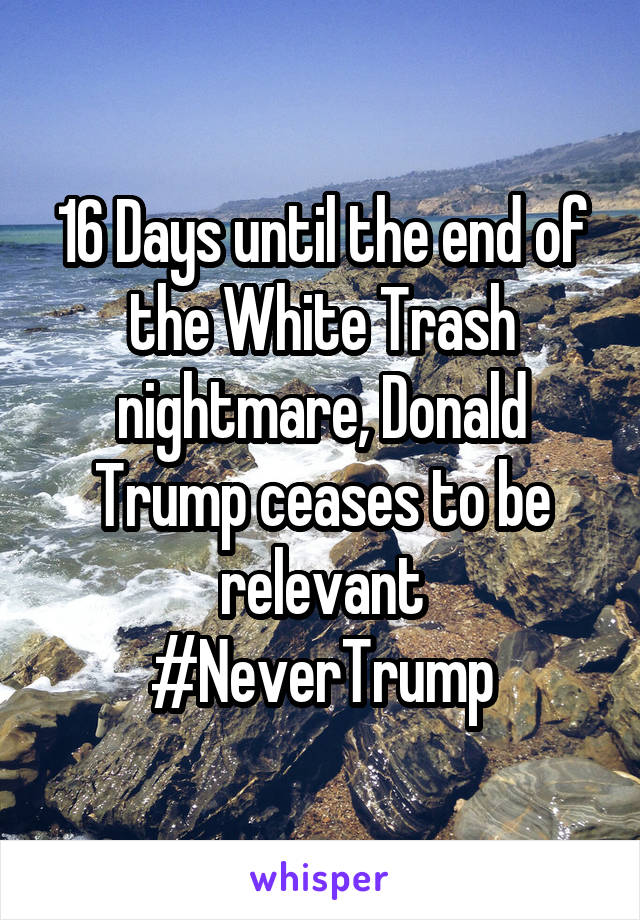 16 Days until the end of the White Trash nightmare, Donald Trump ceases to be relevant #NeverTrump
