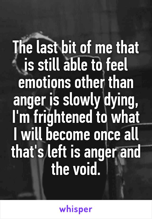 The last bit of me that is still able to feel emotions other than anger is slowly dying, I'm frightened to what I will become once all that's left is anger and the void.