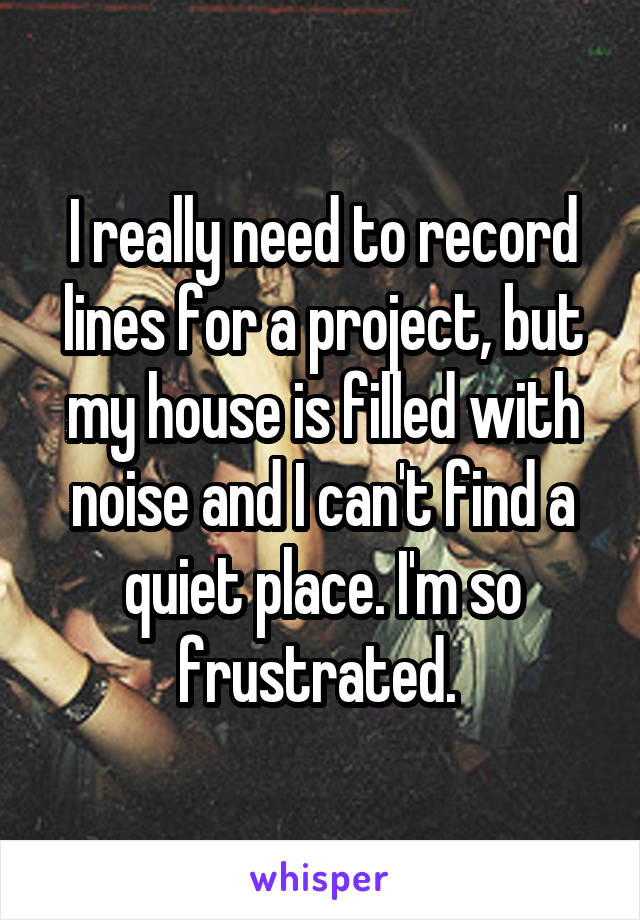I really need to record lines for a project, but my house is filled with noise and I can't find a quiet place. I'm so frustrated.
