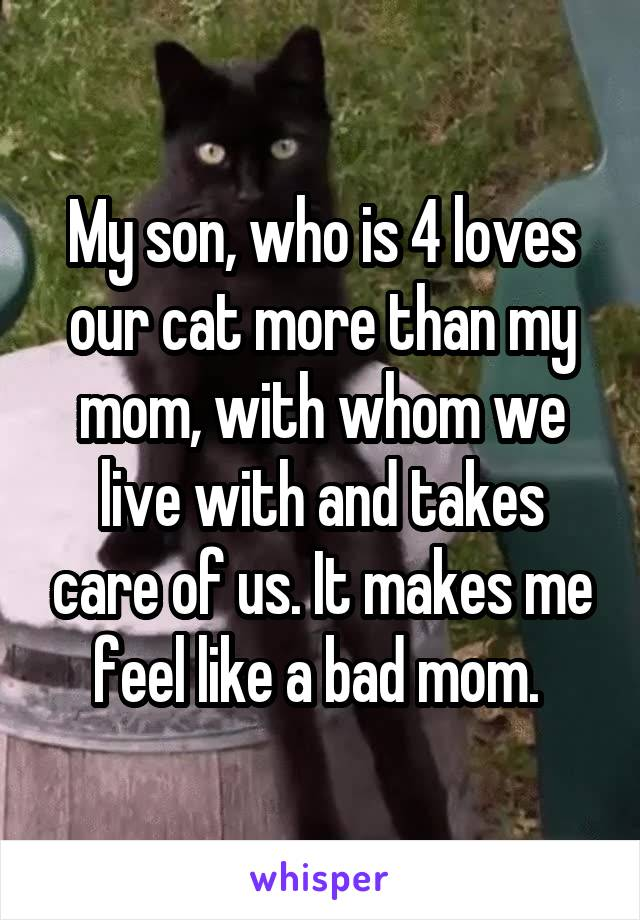 My son, who is 4 loves our cat more than my mom, with whom we live with and takes care of us. It makes me feel like a bad mom.