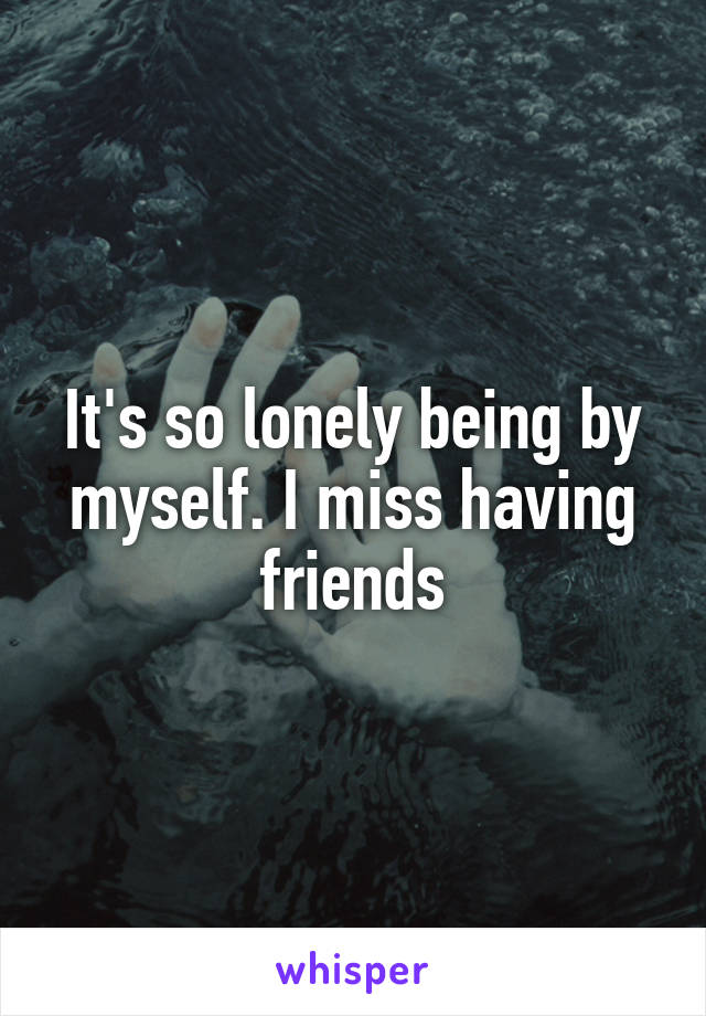 It's so lonely being by myself. I miss having friends