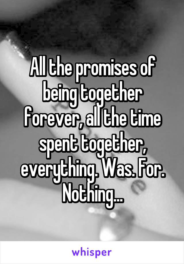 All the promises of being together forever, all the time spent together, everything. Was. For. Nothing...