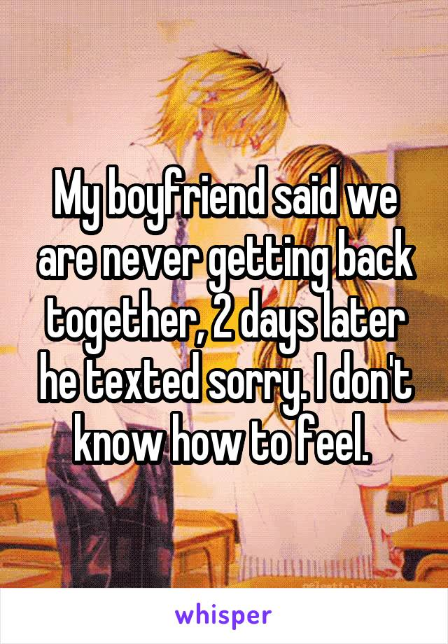 My boyfriend said we are never getting back together, 2 days later he texted sorry. I don't know how to feel.