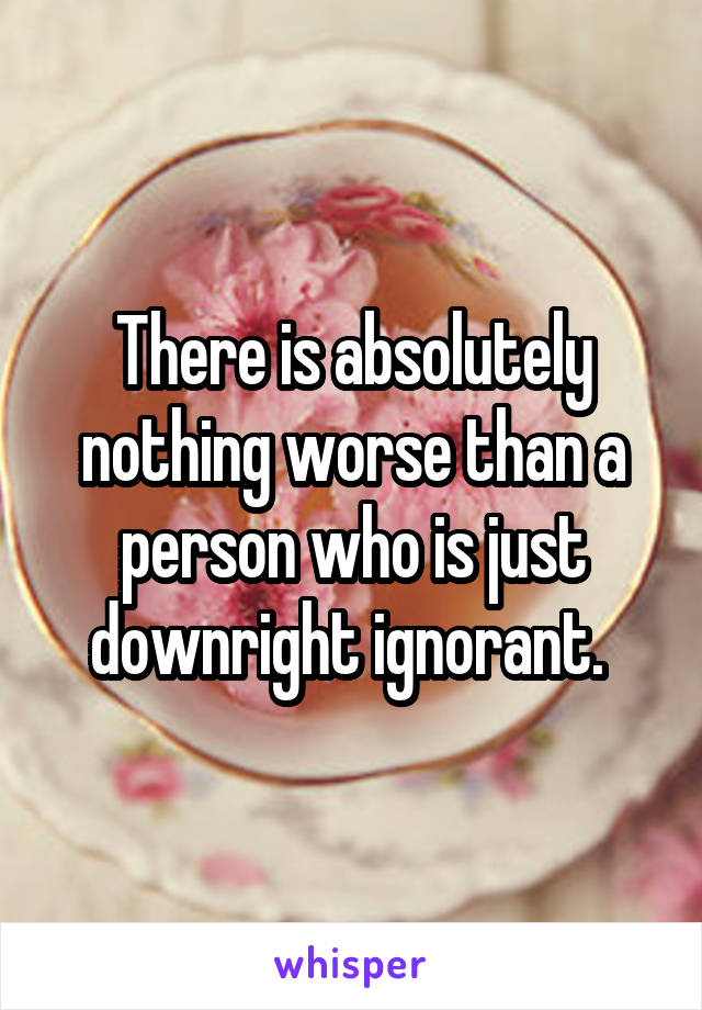 There is absolutely nothing worse than a person who is just downright ignorant.