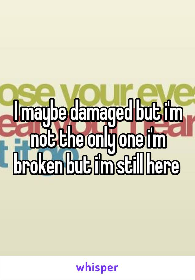 I maybe damaged but i'm not the only one i'm broken but i'm still here