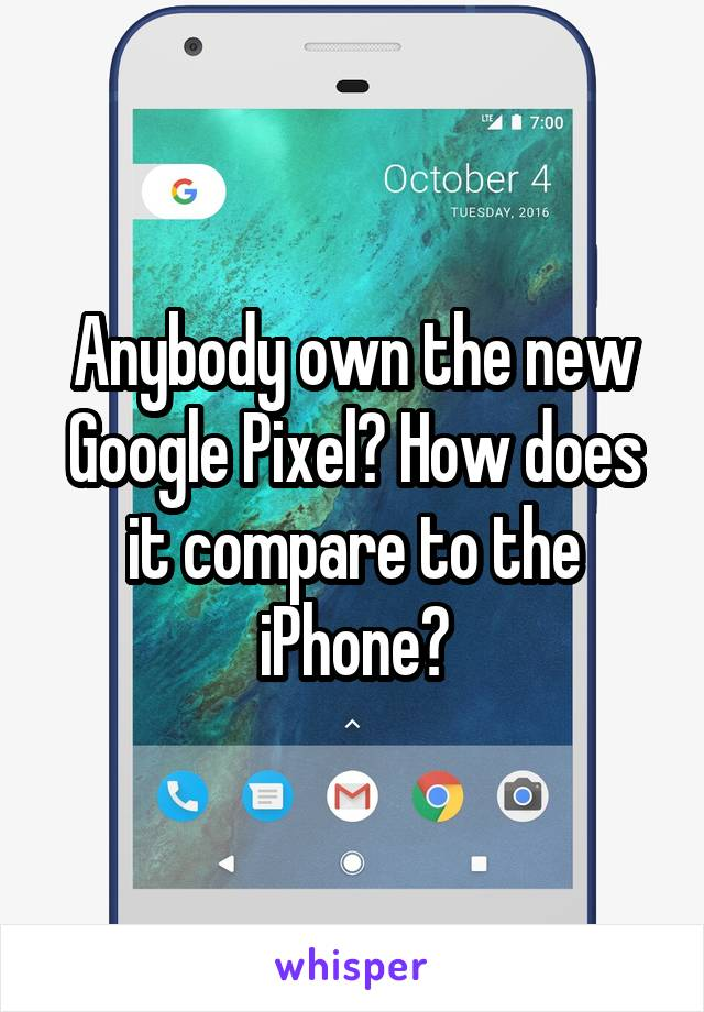Anybody own the new Google Pixel? How does it compare to the iPhone?