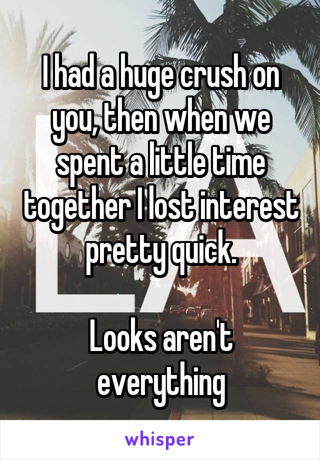 I had a huge crush on you, then when we spent a little time together I lost interest pretty quick.  Looks aren't everything