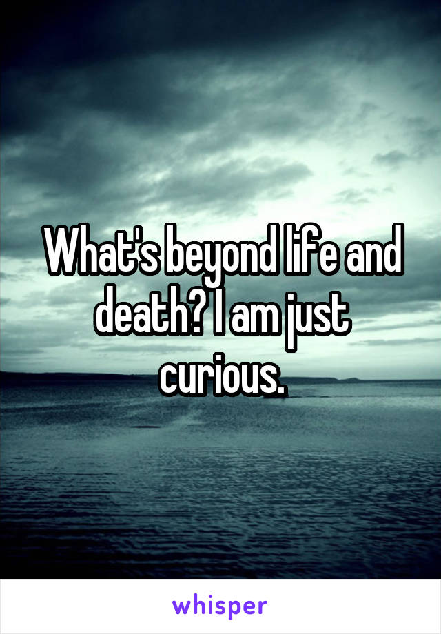 What's beyond life and death? I am just curious.