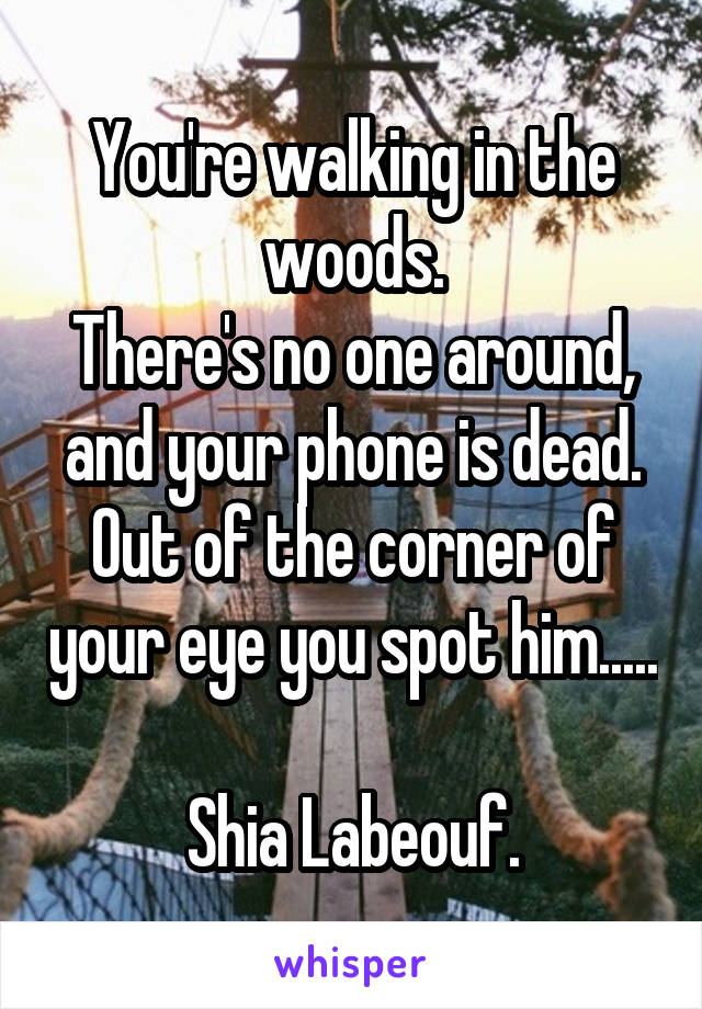 You're walking in the woods. There's no one around, and your phone is dead. Out of the corner of your eye you spot him.....  Shia Labeouf.