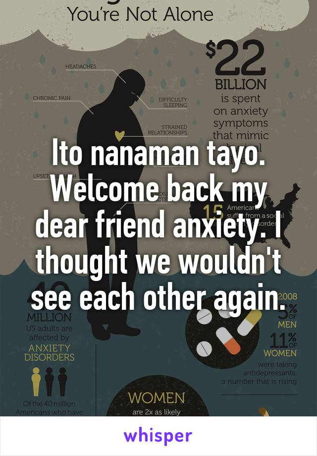 Ito nanaman tayo. Welcome back my dear friend anxiety. I thought we wouldn't see each other again.