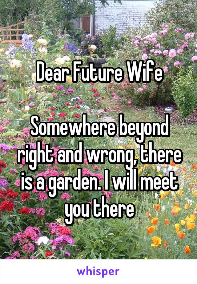 Dear Future Wife  Somewhere beyond right and wrong, there is a garden. I will meet you there
