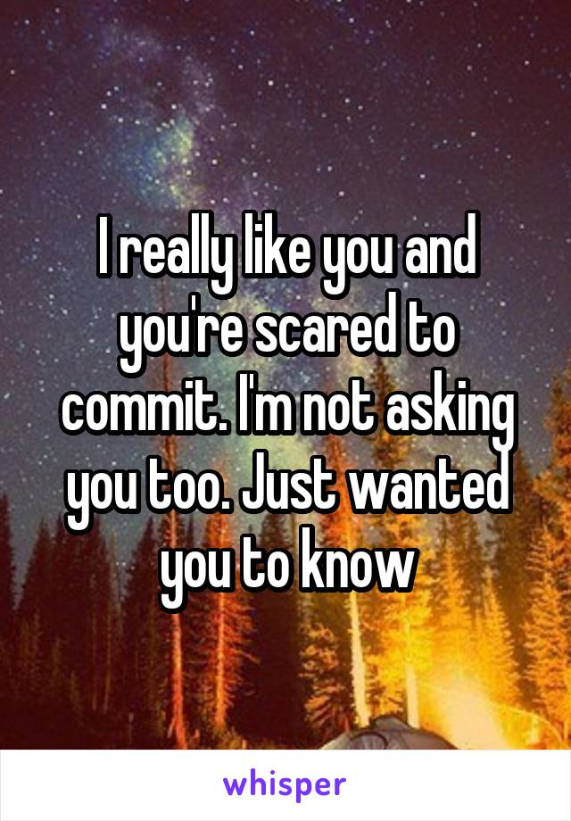 I really like you and you're scared to commit. I'm not asking you too. Just wanted you to know