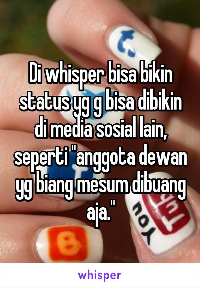"""Di whisper bisa bikin status yg g bisa dibikin di media sosial lain, seperti """"anggota dewan yg biang mesum dibuang aja."""""""