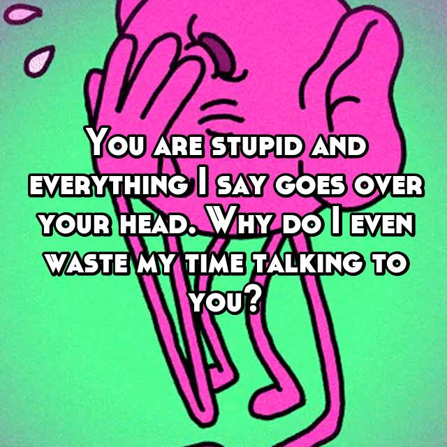 You are stupid and everything I say goes over your head. Why do I even waste my time talking to you?