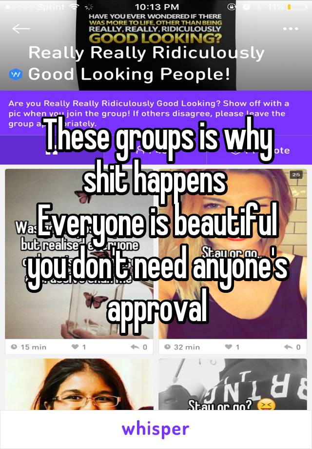 These groups is why shit happens  Everyone is beautiful you don't need anyone's approval