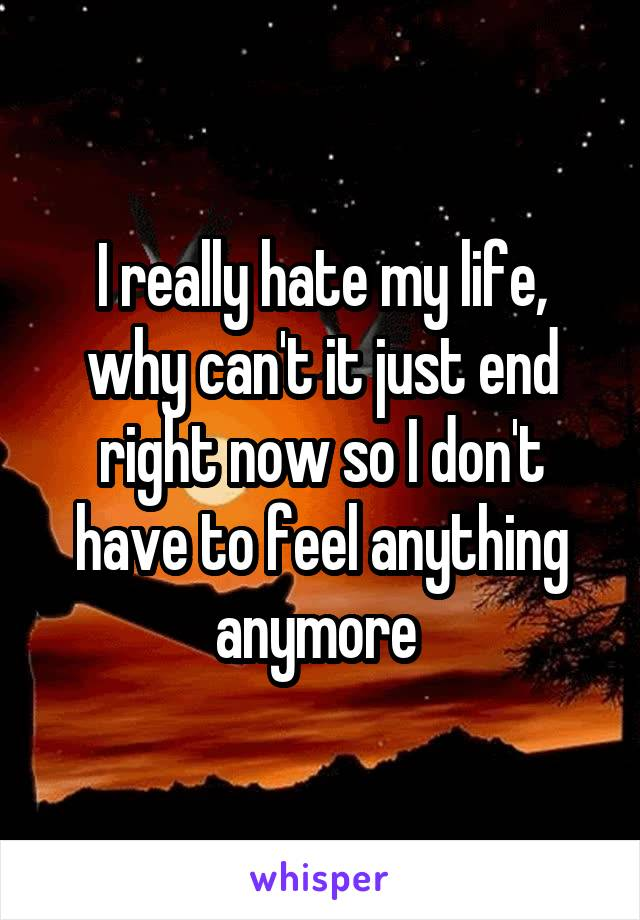I really hate my life, why can't it just end right now so I don't have to feel anything anymore