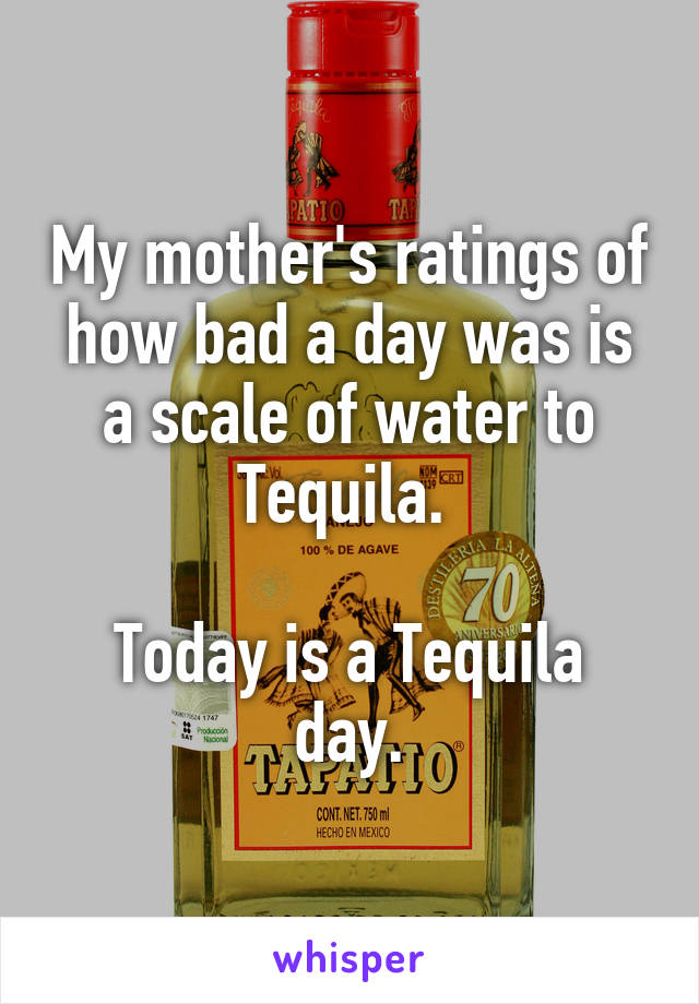 My mother's ratings of how bad a day was is a scale of water to Tequila.   Today is a Tequila day.