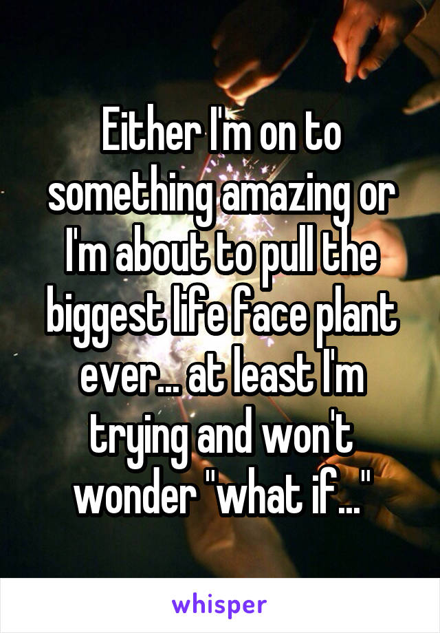 """Either I'm on to something amazing or I'm about to pull the biggest life face plant ever... at least I'm trying and won't wonder """"what if..."""""""
