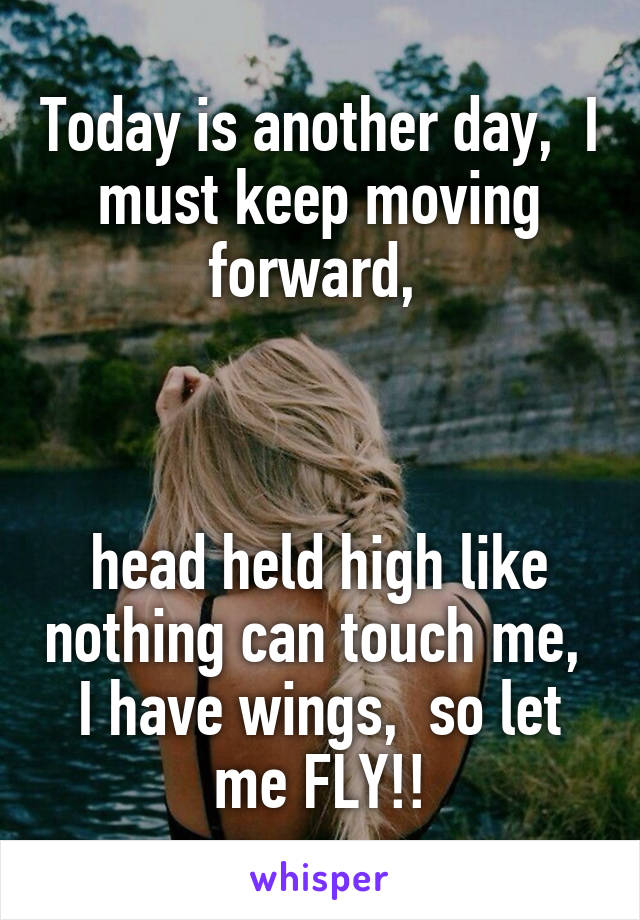 Today is another day,  I must keep moving forward,     head held high like nothing can touch me,  I have wings,  so let me FLY!!