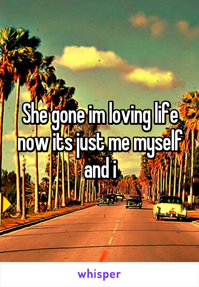 She gone im loving life now its just me myself and i
