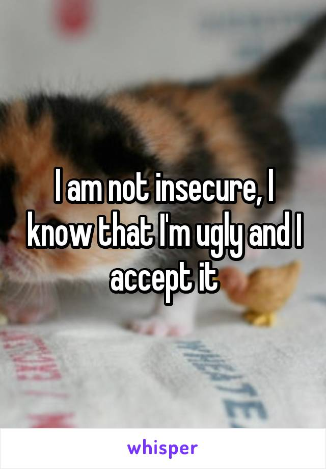 I am not insecure, I know that I'm ugly and I accept it
